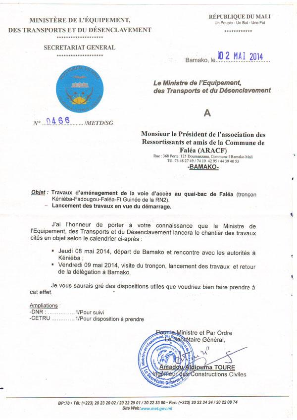 La lettre du Ministre. Publié dans Non classé